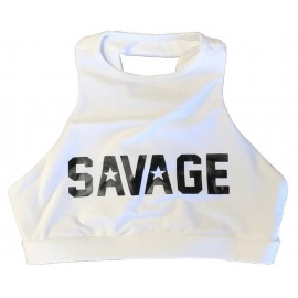"SAVAGE BARBELL - Top ""Sports Bra - High Neck White"""