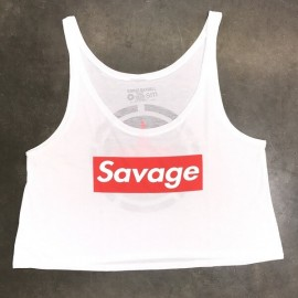 "SAVAGE BARBELL - Crop Top Mujer ""Savage Box - White"""