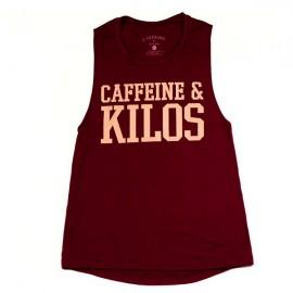 "CAFFEINE & KILOS - Muscle Tank Mujer ""Bold Logo"" - Maroon"