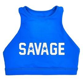 "SAVAGE BARBELL - Brassière Femme ""Sports Bra - High Neck ""Blue Saphire"""